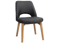 LivingStyles Albury Commercial Grade Fabric Dining Chair, Timber Leg, Charcoal / Light Oak