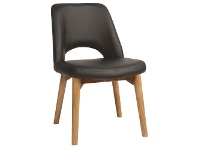 LivingStyles Albury Commercial Grade Vinyl Dining Chair, Timber Leg, Charcoal / Light Oak