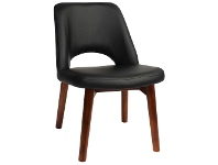 LivingStyles Albury Commercial Grade Vinyl Dining Chair, Timber Leg, Black / Light Walnut