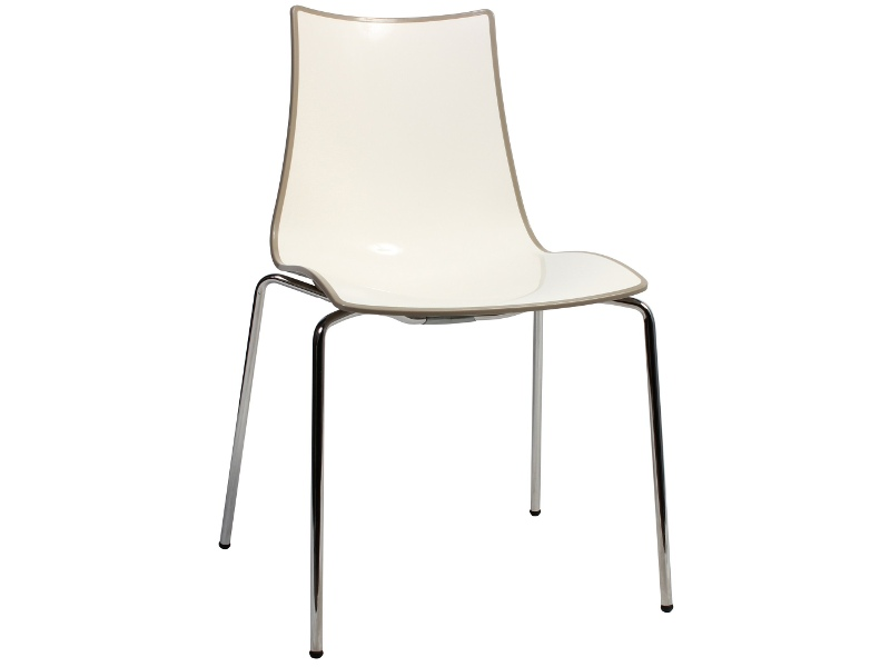 Zebra Bicolore Italian Made Commercial Grade Dining Chair, Metal Leg, Taupe / Chrome