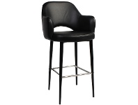 LivingStyles Albury Commercial Grade Vinyl Counter Stool with Arm, Metal Leg, Black