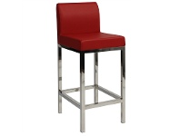 LivingStyles Fuji V2 Commercial Grade Vinyl Upholstered Stainless Steel Counter Stool - Red