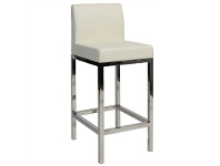 LivingStyles Fuji V2 Commercial Grade Vinyl Upholstered Stainless Steel Counter Stool - White