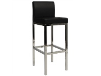 LivingStyles Lima V2 Commercial Grade Vinyl Upholstered Stainless Steel Bar Stool - Black