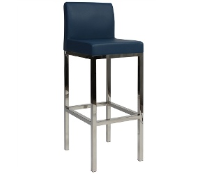 Lima V2 Commercial Grade Vinyl Upholstered Stainless Steel Bar Stool - Blue