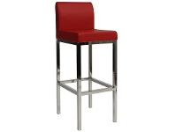 LivingStyles Lima V2 Commercial Grade Vinyl Upholstered Stainless Steel Bar Stool - Red