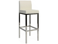 LivingStyles Lima V2 Commercial Grade Vinyl Upholstered Stainless Steel Bar Stool - White