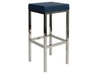LivingStyles Oslo V2 Commercial Grade Vinyl Upholstered Stainless Steel Bar Stool - Blue