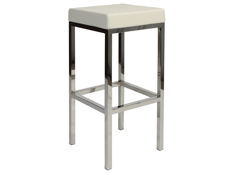 Oslo V2 Commercial Grade Vinyl Upholstered Stainless Steel Bar Stool - White