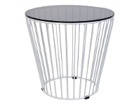 LivingStyles Cage Commercial Grade Glass Top Steel 50cm Round Coffee Table - White