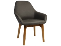 LivingStyles Bronte Commercial Grade Vinyl Dining Armchair, Timber Leg, Charcoal / Natural