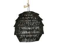 LivingStyles Sadie Rattan Round Scalloped Pendant Light - Black