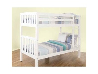 LivingStyles Lachlan Solid Rubberwood Timber Bunk Bed, Single, White