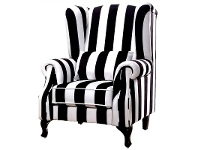 LivingStyles Zebra Fabric Upholstered Wing Chair with Cushion