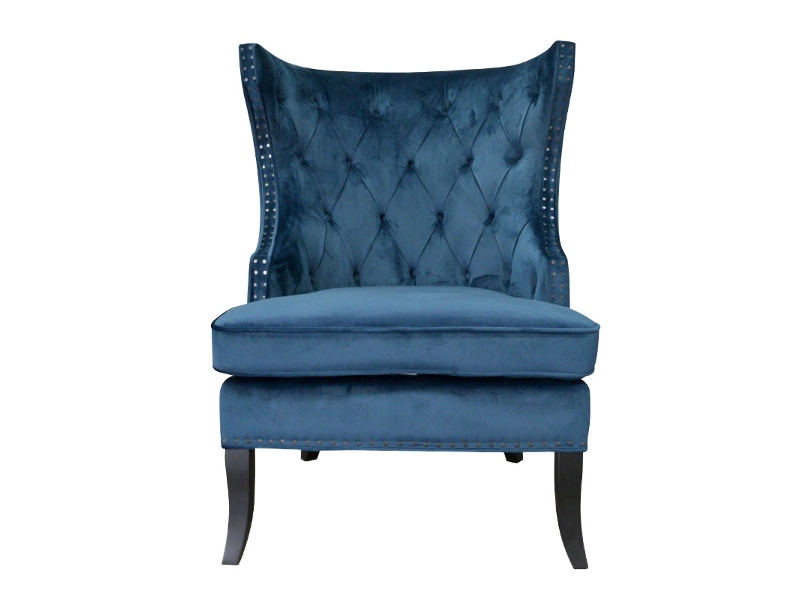 Ceretto Velvet Fabirc Wing Back Lounge Chair, Navy