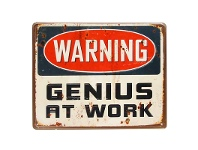 "LivingStyles Athlone Rustic Tin Wall Sign, ""Genius at Work"""