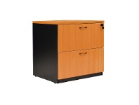 LivingStyles Logan 2 Drawer Lateral File Cabinet, Beech / Black