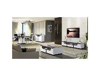 LivingStyles Europe High Gloss White 200cm TV Unit with Glass Top