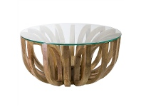 LivingStyles Lotus Glass Top Solid Teak Timber Round Coffee Table - Large