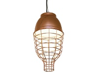 LivingStyles Cleo Metal Cage Pendant Light, Rose Gold