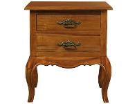 LivingStyles Mervent Solid White Cedar Timber 2 Drawer Lamp Table - Light Pecan