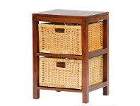 LivingStyles Handcrafted Solid Mahogany Timber 2 Rattan Drawer Lamp Table, Mahogany