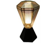 LivingStyles Moor Perforated Stainless Steel Diamond Table Lamp - Gold