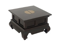 LivingStyles Ming Solid Mahogany Timber Opium Side Table, Chocolate
