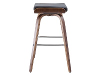 LivingStyles Set of 2 Lucca PU Leather and Timber Barstool - Black