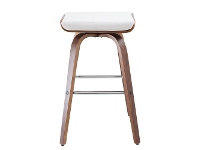 Lucca Commercial Grade Timber Bar Stool, Walnut / White