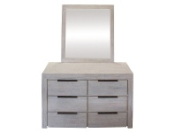LivingStyles Romford Acacia Timber 6 Drawer Dresser with Mirror