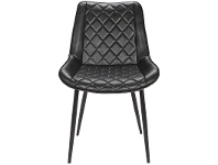 LivingStyles Lyon Commercial Grade Faux Leather Dining Chair, Black