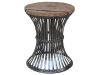 LivingStyles Waverton Handcrafted Iron Stool with Timber Seat