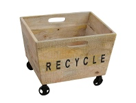 LivingStyles Recycle Industrial Solid Mango Wood Timber Basket on Wheels