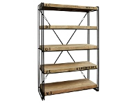 LivingStyles Expedition Industrial Solid Mango Wood Timber Iron Book Shelf