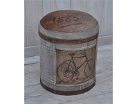 LivingStyles Vintage Bicycle Hand Crafted Leather and Canvsa Round Ottoman