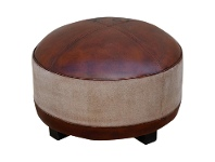 LivingStyles Vintage Hand Crafted Leather and Canvas Round Ottoman with Timber Legs
