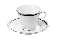 LivingStyles Noritake Toorak Noir Fine China Teacup and Saucer Set