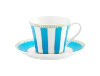 LivingStyles Noritake Carnivale Fine Porcelain Cup & Saucer Set, Light Blue