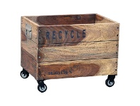 LivingStyles Blancke Solid Mango Wood Timber Storage Basket on Castors