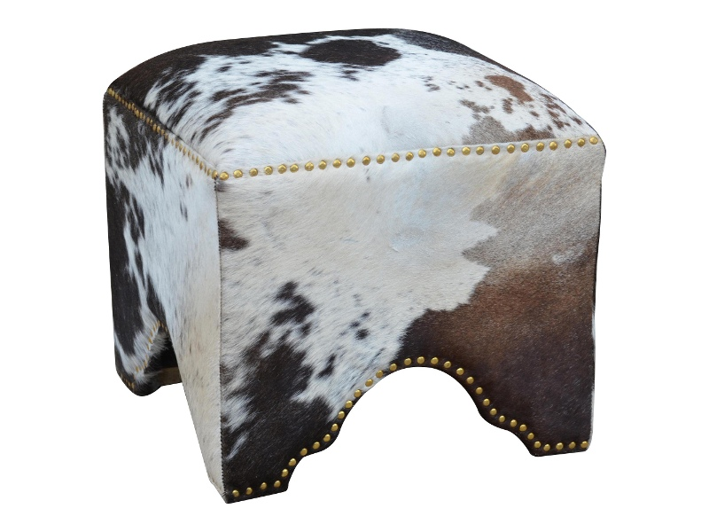 Burgen Hand Crafted Synthetic Cowhide Ottoman