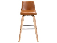 LivingStyles Matera Commercial Grade Bentwood Swivel Bar Chair, Faux Leather Seat, Tan / Oak