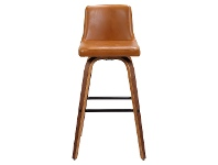 LivingStyles Matera Commercial Grade Bentwood Swivel Bar Chair, Faux Leather Seat, Tan / Walnut