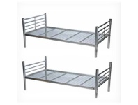 LivingStyles Matrix Single Bunk Bed Metal Tubular Steel Silver