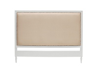 LivingStyles Ygrande Hand Crafted Mahogany Upholstered Queen Size Headboard, White
