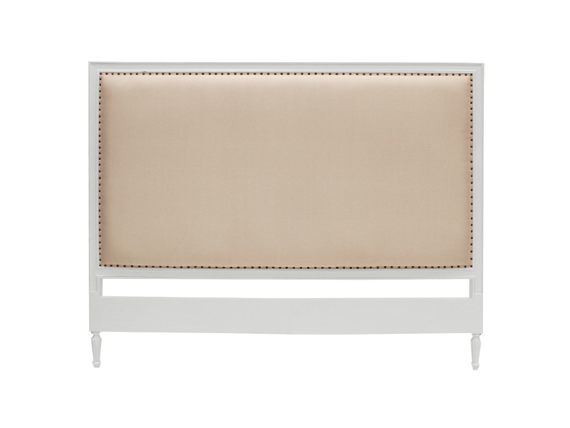 Ygrande Hand Crafted Mahogany Upholstered Queen Size Headboard, White