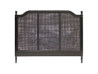 LivingStyles Lapalisse Hand Crafted Mahogany Rattan King Size Headboard - Distressed Black