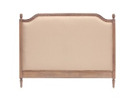 LivingStyles Lapalisse Hand Crafted Upholstered Mahogany Timber Bed Headboard, King, Weathered Oak
