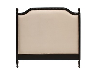 LivingStyles Lapalisse Hand Crafted Mahogany Upholstered Queen Size Headboard - Distressed Black