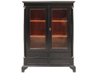LivingStyles Annonay Hand Crafted Mahogany Display Cabinet - Distressed Black